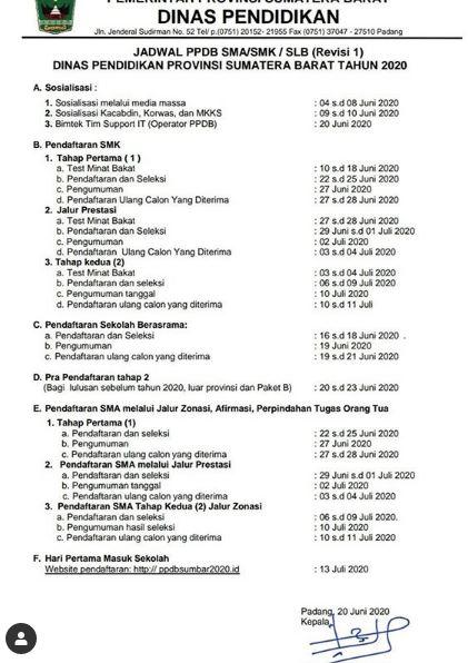 Revisi I Jadwal PPDB 2020 SMA/SMK/SLB